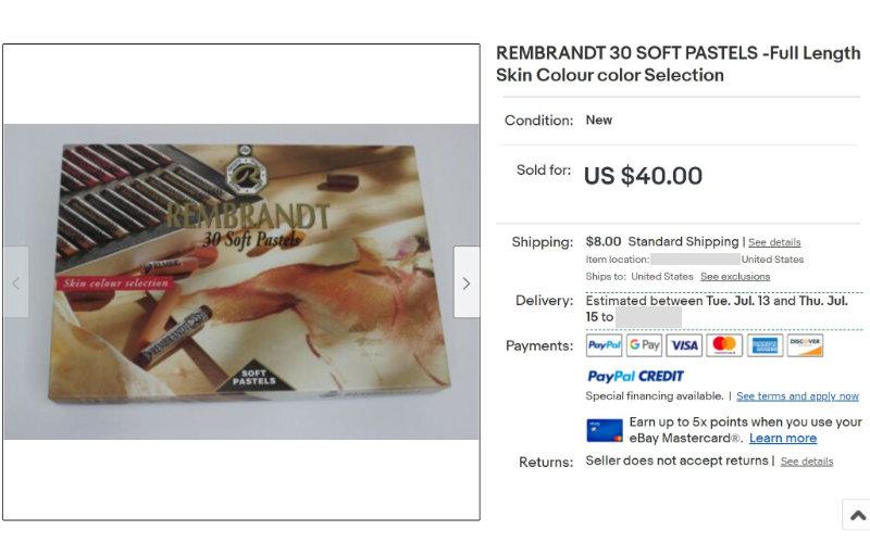 Ebay listing rembrandt pastels